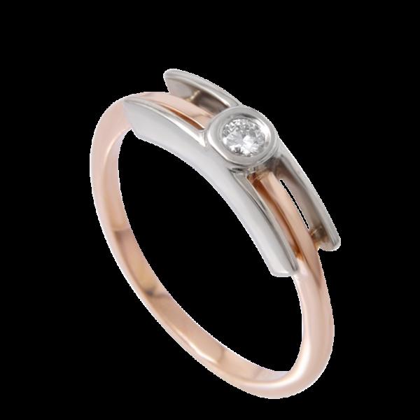 Классическое кольцо с центральным бриллиантом арт 0101305