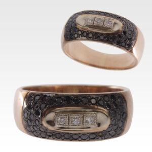 Кольцо из золота с черными бриллиантами Арт 0101369