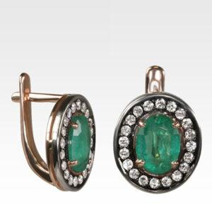 Серьги из золота с изумрудами и бриллиантами Арт0202151