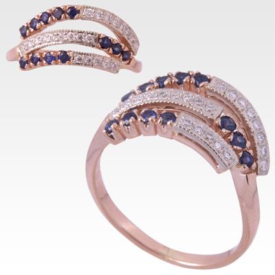 Кольцо из золота с бриллиантами и сапфирами Арт 0301008
