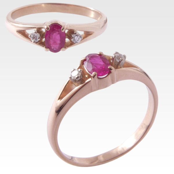 Кольцо из золота с рубином и бриллиантами Арт 0401004