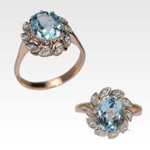 Кольцо из золота с топазом и бриллиантами Арт 0601042