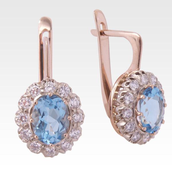 Серьги из золота с топазами и бриллиантами Арт 0602009