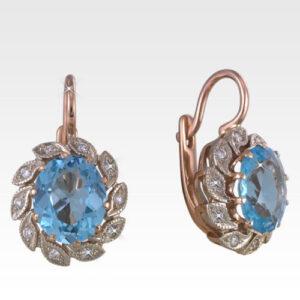 Серьги из золота с топазами и бриллиантами Арт 0602015 Петрозолото