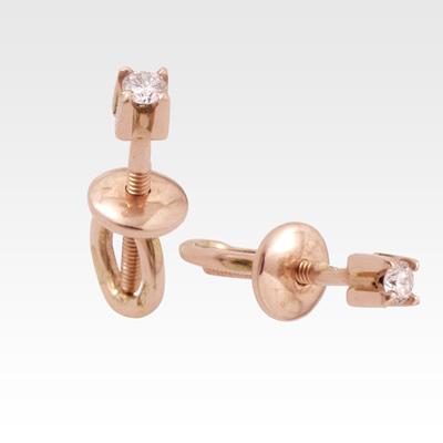 Серьги-гвоздики из золота с бриллиантами Арт0102055