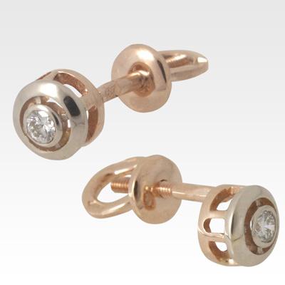 Серьги-пусеты из золота с бриллиантами Арт0102195