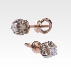 Серьги пусеты из золота с бриллиантами Арт0102328