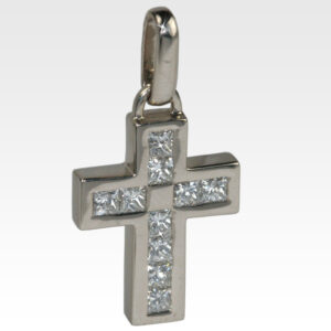 Подвеска-крест из белого золота с бриллиантами
