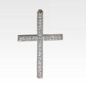 Подвеска-крест из белого золота с бриллиантами Арт0111194