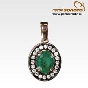 Подвеска из золота с изумрудом и бриллиантами Арт0211036