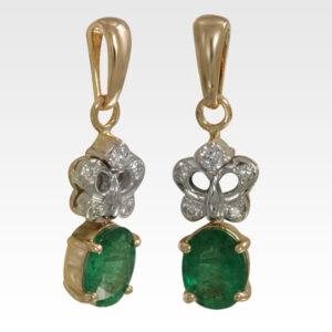 Подвеска из золота с изумрудом и бриллиантами Арт0211054