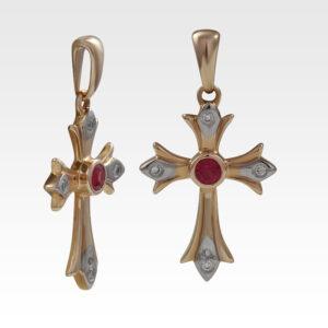 Подвеска-крест из золота с рубином Арт0411012