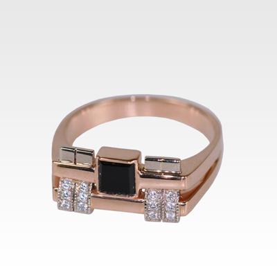 Кольцо из золота с агатом и бриллиантами Арт1701003