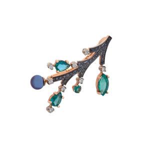 Брошь из золота с изумрудами и бриллиантами Арт4507016