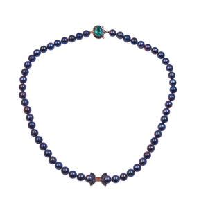 Колье из черного жемчуга с изумрудами и бриллиантами Арт4513038