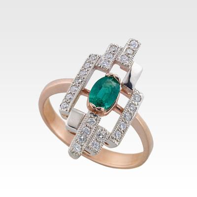 Кольцо из золота с изумрудом и бриллиантами Арт0201082