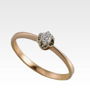 Кольцо из золота с центральным бриллиантом Арт0101713