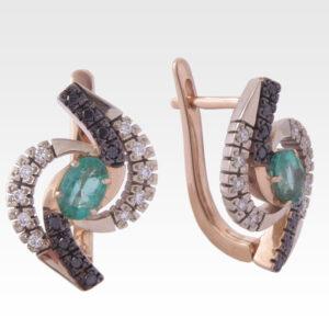 Серьги из золота с изумрудами и бриллиантами Арт0202015