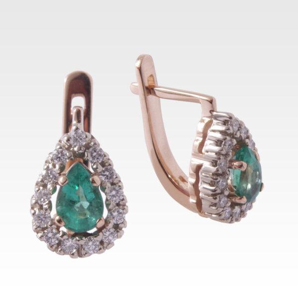 Серьги из золота с изумрудами и бриллиантами Арт0202023