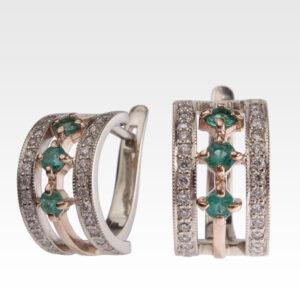 Серьги из золота с изумрудами и бриллиантами Арт0202046