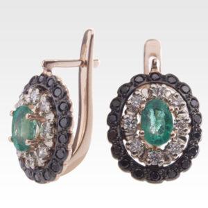 Серьги из золота с изумрудами и бриллиантами Арт0202048