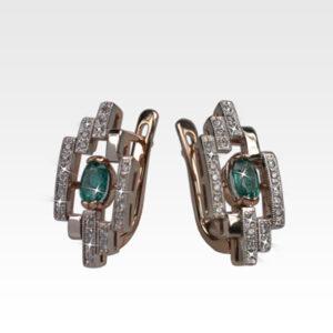 Серьги из золота с изумрудами и бриллиантами Арт0202052