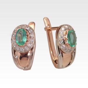 Серьги из золота с изумрудами и бриллиантами Арт0202055