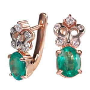 Серьги из золота с изумрудами и бриллиантами Арт0202091