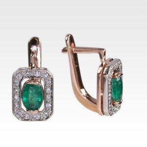 Серьги из золота с изумрудами и бриллиантами Арт0202135