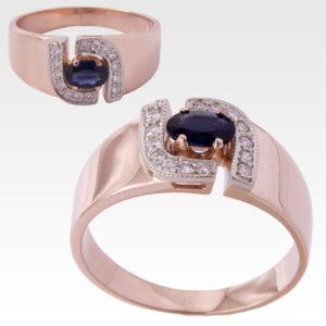 Кольцо из золота с сапфиром и бриллиантами Арт0301026