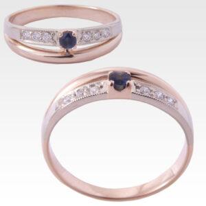 Кольцо из золота с сапфиром и бриллиантами Арт0301029