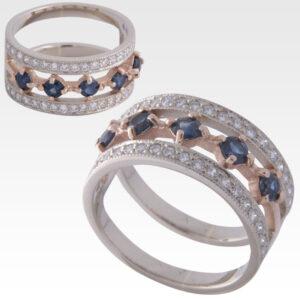 Кольцо из золота с сапфирами и бриллиантами Арт0301034