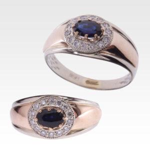 Кольцо из золота с сапфиром и бриллиантами Арт0301035