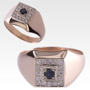 Кольцо из золота с сапфиром и бриллиантами Арт0301038