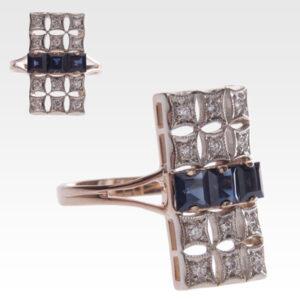 Кольцо из золота с сапфирами и бриллиантами Арт0301040