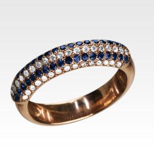 Кольцо из золота с сапфирами и бриллиантами Арт0301094