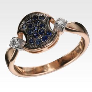 Кольцо из золота с сапфирами и бриллиантами Арт0301098