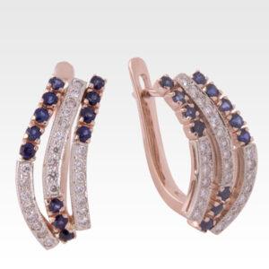 Серьги из золота с сапфирами и бриллиантами Арт0302007
