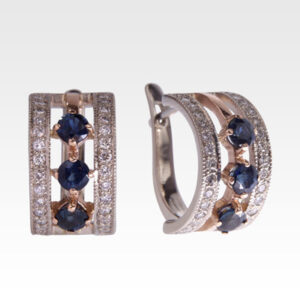Серьги из золота с сапфирами и бриллиантами Арт0302025