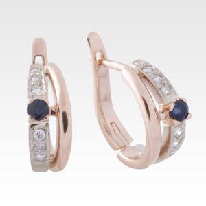 Серьги из золота с сапфиром и бриллиантами Арт0302028