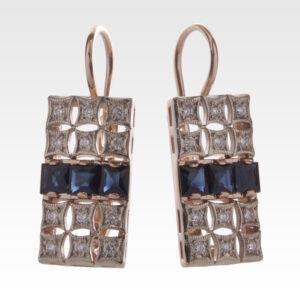 Серьги из золота с сапфирами и бриллиантами Арт0302035