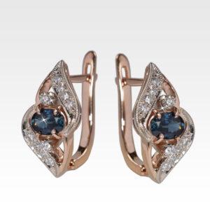 Серьги из золота с сапфиром и бриллиантами Арт0302055