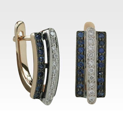 Серьги из золота с сапфирами и бриллиантами Арт0302100