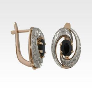 Серьги из золота с сапфирами и бриллиантами Арт0302105