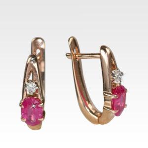 Серьги из золота с рубинами и бриллиантами Арт0402018