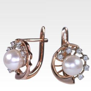 Серьги из золота с жемчугом и бриллиантами Арт0502040