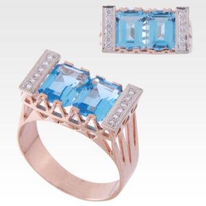 Кольцо из золота с топазами и бриллиантами Арт0601001
