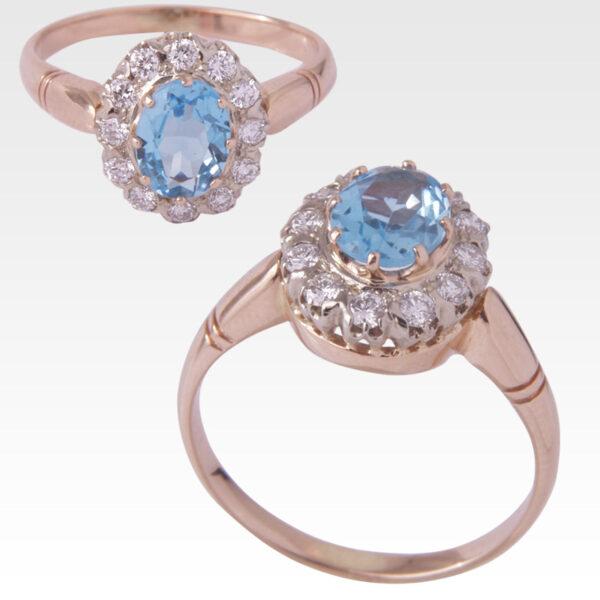 Кольцо из золота с топазом и бриллиантами Арт0601020
