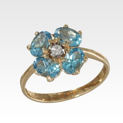 Кольцо из золота с топазами и бриллиантами Арт0601069
