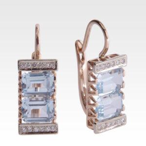 Серьги из золота с топазами и бриллиантами Арт0602003